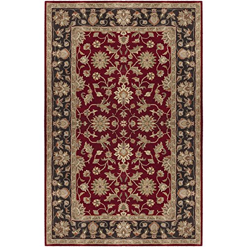 (Surya Crowne CRN-6013 Classic Hand Tufted 100% Wool Maroon 2' x 3' Traditional Accent Rug)