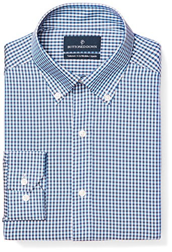 (BUTTONED DOWN Men's Tailored Fit Button-Collar Pattern Non-Iron Dress Shirt, Blue/Brown Gingham, 16