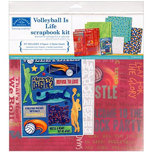 (Karen Foster Design Themed Paper and Stickers Scrapbook Kit, Volleyball)