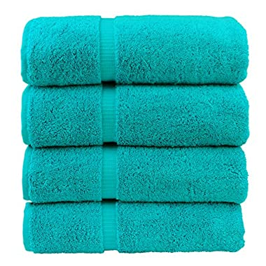 Luxury Hotel & Spa Bath Towel 100% Genuine Turkish Cotton, Set of 4 (Aqua Blue)