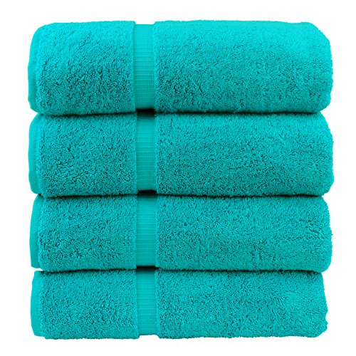 Chakir Turkish Linens Turkish Cotton Luxury Hotel & Spa Bath Towel, Bath Towel - Set of 4, Aqua (Bathroom Teal Towels)