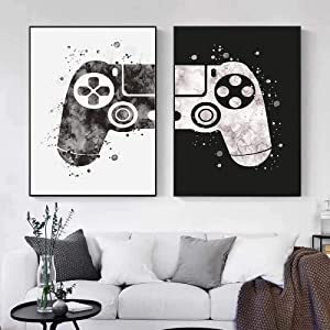 Gaming Room Decor Canvas Painting Video Game Themed Gaming Canvas Wall Art Black and White Video Game Wall Art Posters and Prints Canvas Paintings Pictures for Kids Teen Game Room Decor art Unframed