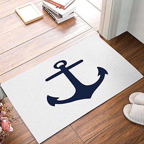 Nautical Anchor Theme Doormats Entrance Front Door Rug Outdoors/Indoor/Bathroom/Kitchen/Bedroom/Entryway Floor Mats,Non-Slip Rubber,Low-Profile