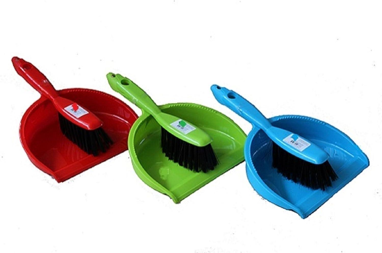 Set per spazzare composto da scopino con manico e paletta in 3 colori verde Gluecksshop