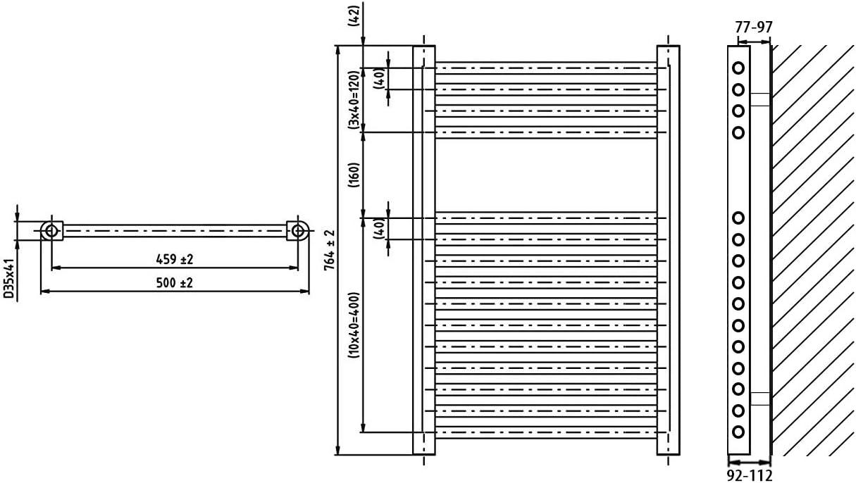 Heizk/örper Badheizk/örper rein elektrisch mit digitalem Thermostat ELEKTRO anthrazit gerade 764 x 400