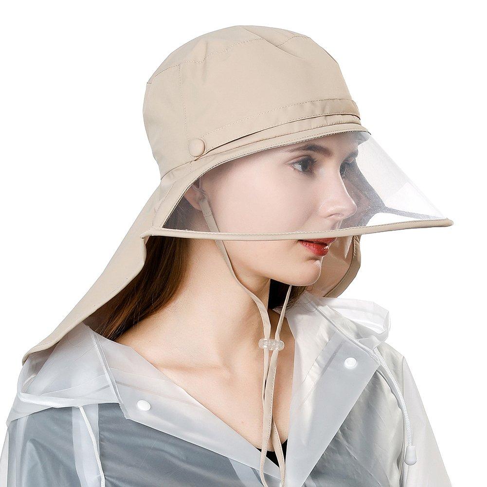 Jeff & Aimy Rain Hat Waterproof Women Wide Brim Bucket Rain Hats for Men w/Windproof Chin Strap Elastic Fit Khaki