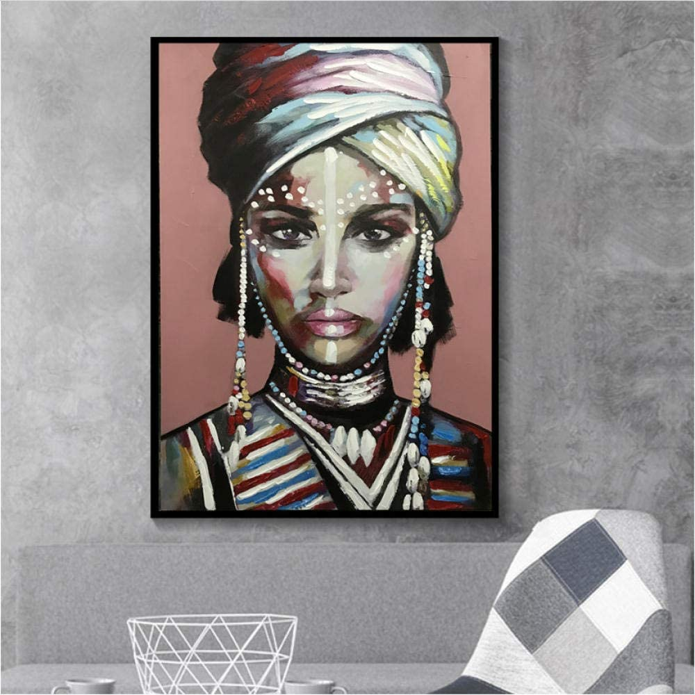 EDGIFT2 Viste a la Mujer Africana Cuadros Lienzo Pintura Carteles e Impresiones Escandinavo Wall Art Picture for Living Room Home Decor60x80cm Sin Marco