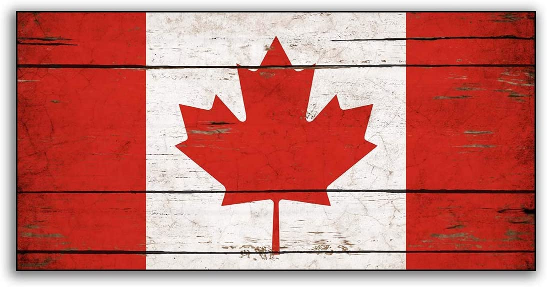 Canada Wood Flag Canadian Flags Wooden Handmade Home Wall Decor Print Printed Sign Decor Sign Wall Plaque Store Signs