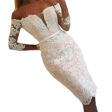 Yasiou Hochzeitskleid Damen Tragerlos Kurz Spitze Tull Standesamt