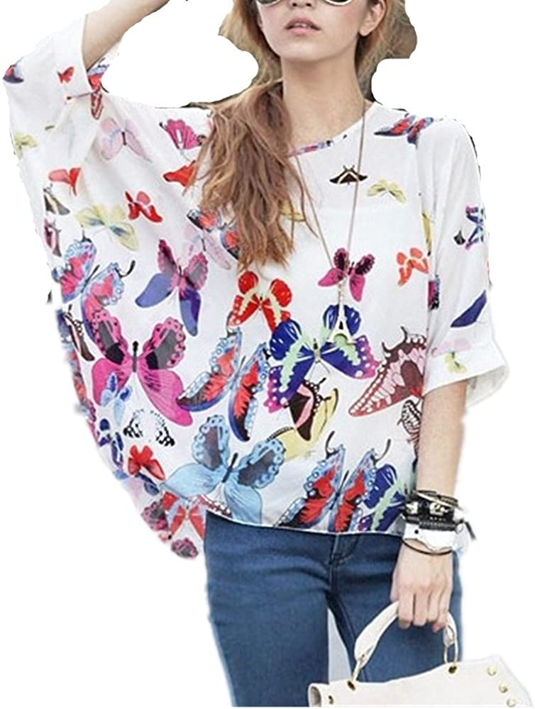 NEW BATWING WHITE BLACK WOMENS FLORAL BLOUSE TOP LOOSE FULL SLEEVE SIZE 8 10 12