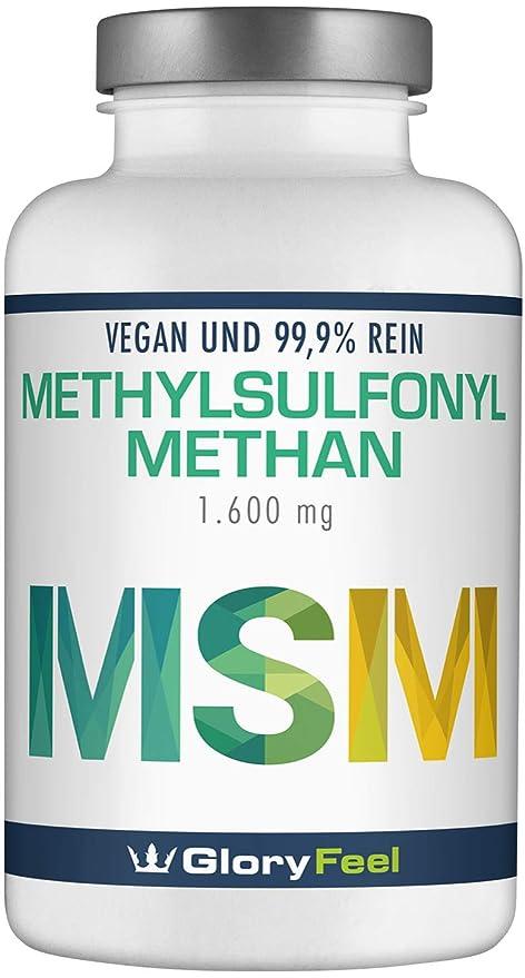 Cápsulas de MSM - 1400 mg de polvo de MSM (Metilsulfonilmetano) + Vitamina C