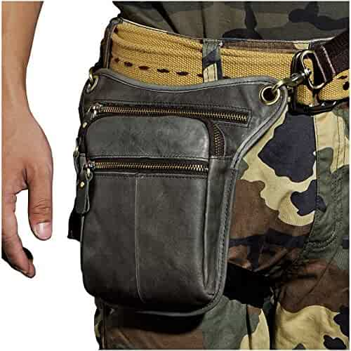 98f0ecd26 Le'aokuu Mens Genuine Leather Messenger Riding Hip Bum Waist Pack Drop Leg  Cross Over