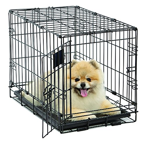Dog Crate | MidWest Life Stages XS Folding Metal Dog Crate | Divider Panel, Floor Protecting Feet, Leak-Proof Dog Tray | 22L x 13W x 16H inches, XS Dog Breed ()