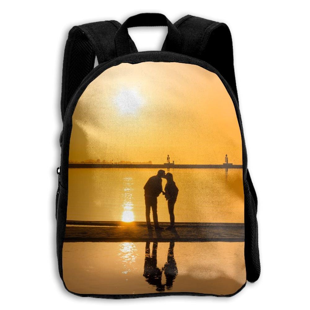 Sunset Couple Kissing海辺で印刷する耐久性Kid 'sミニバックパック B07CG5BFMN