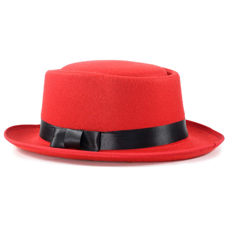 Rzxkad 2019 Fedoras Unisex Structured Wool Hat Man Fedora Bow Tie Solid Aristocratic Outdoor Dad Cap