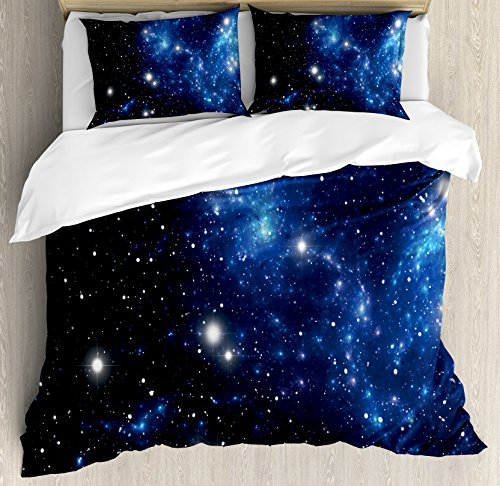 Ambesonne Constellation Duvet Cover Set Queen Size, Outer Space Star Nebula Astral Cluster Astronomy Theme Galaxy Mystery, Decorative 3 Piece Bedding Set with 2 Pillow Shams, Blue Black]()