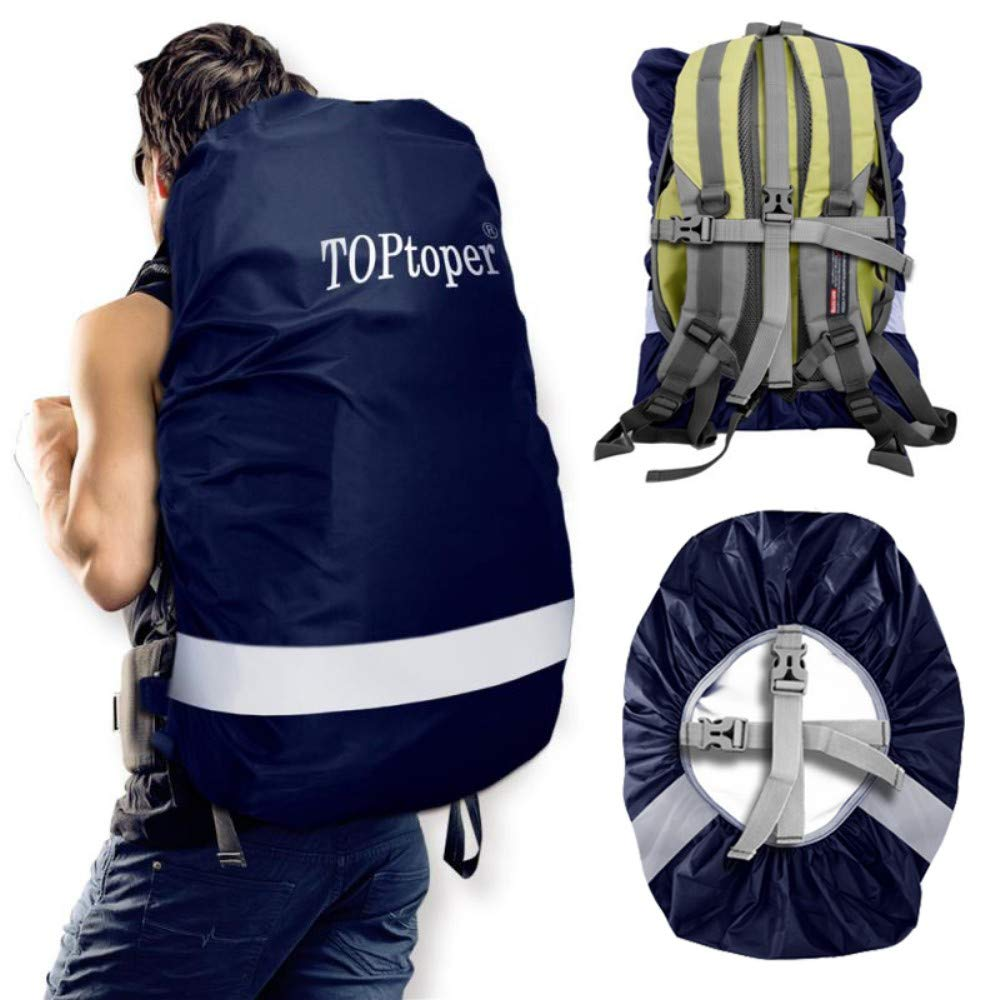 TOPtoper Reflective Waterproof Backpack Rain Cover, Upgraded Adjustable  Vertical Buckle Strap with Storage Bag (25-80L) (Blue, M(40-50L)) 3c8078bbf2