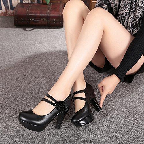 KPHY-Im Frühjahr Und Herbst Zeit Zu Zeigen 10 Cm High Kleid Heels Kleid High Mit Dickem Wasserfeste Schuhe Schuhe Schwarze Schuhe Kopf - Modell schwarz eaa5ec
