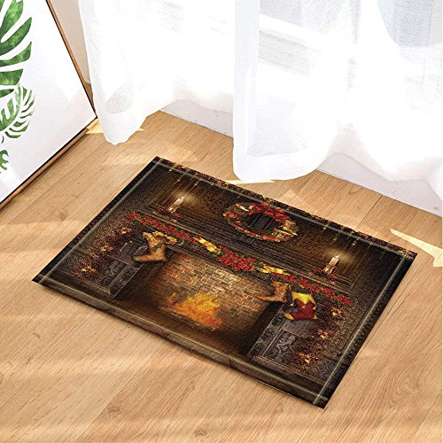 CdHBH Christmas Bath Rugs There Were Socks Hanging On The Fireplace Non-Slip Doormat Floor Entryways Indoor Front Door Mat Kids Bath Mat 15.7x23.6in Bathroom Accessories by CdHBH