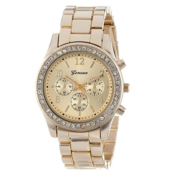 Clásico Reloj mujer elegante – Feixiang Luxury Reloj Correa de acero inoxidable, relojes para mujer
