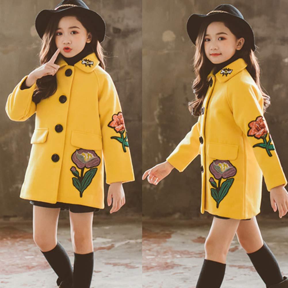 SXSHUN M/ädchen Mantel Winter Jacke mit Blumenmuster Kinder Lang Verdickte Windjacke Oberbekleidung Outerwear