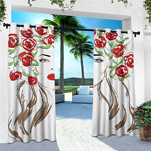 (Girls, Outdoor Curtain Set of 2 Panels, Hand Drawn Lady with Roses on Her Hair Floral Ornamentals Natural Artwork Theme, Outdoor Curtain panels for Patio Waterproof W120 x L96 Inch Red Green Tan)