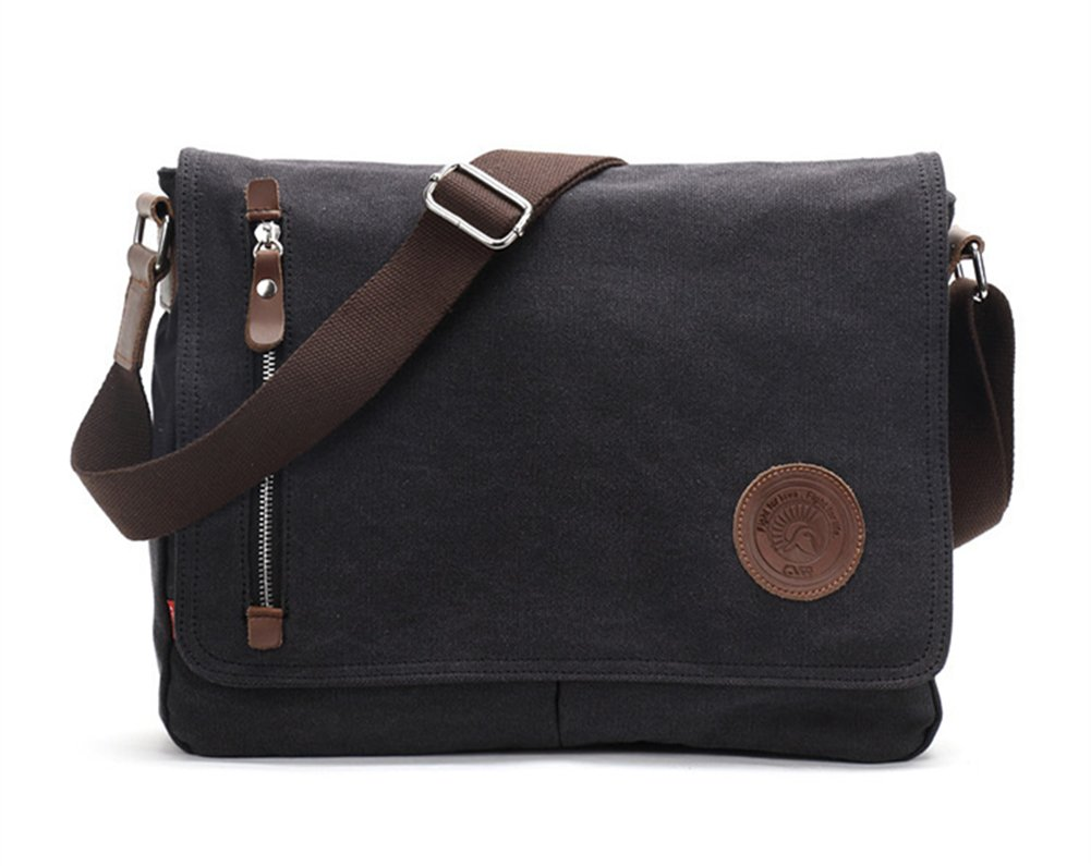 Sechunk Canvas Small Messenger Bag Shoulder bag Cross body bag for men boy student school