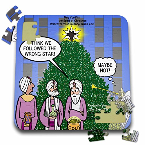 3dRose Rich Diesslins Cartoon Days of Christmas TCDC - The wisemen Show up at Rockefeller Center in New York by Mistake - 10x10 Inch Puzzle (pzl_38589_2) -