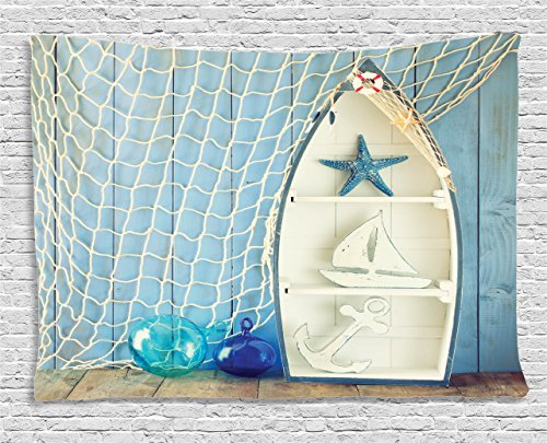 Ambesonne Nautical Decor Tapestry, Sea Objects on Wooden with Vintage Boat Starfish Shell Fishing Net Photo, Wall Hanging for Bedroom Living Room Dorm, 80 W X 60 L Inches, Blue Cream