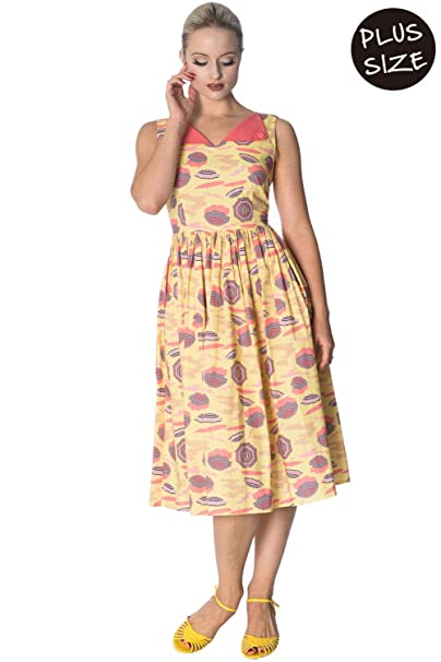 Banned Parasol All Over Retro Contrast Plus Size Dress ...