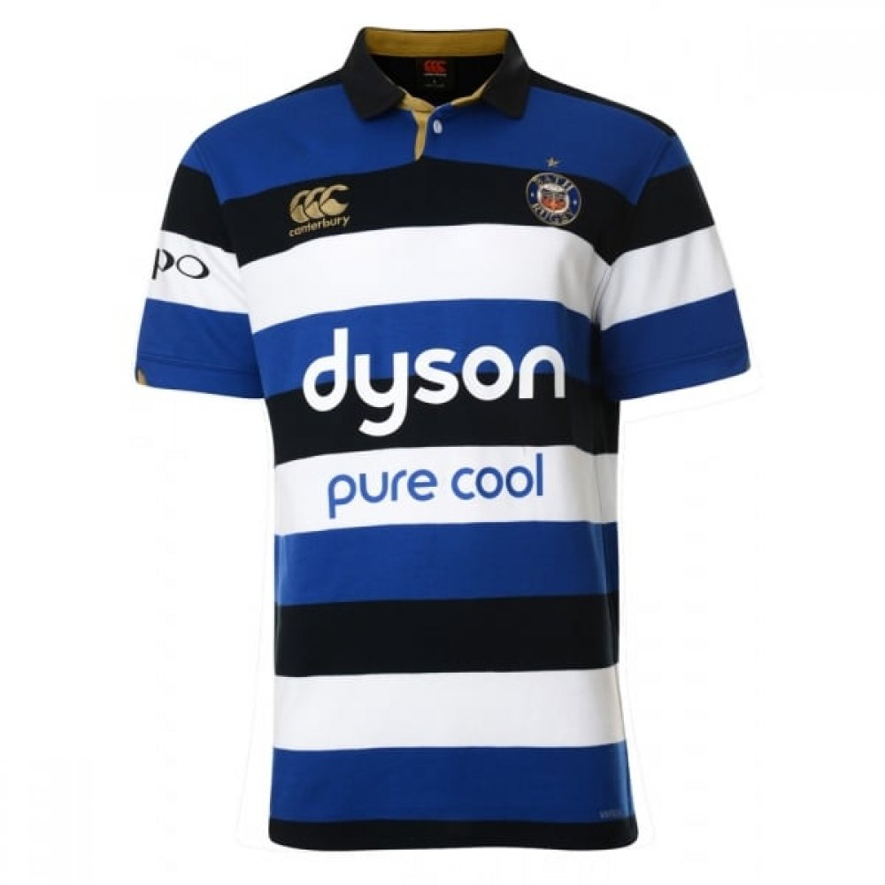 Bath 2016 17 Home S S Classic Rugby Shirt - Blau schwarz Weiß - Größe XXL