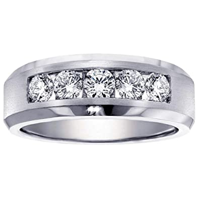 6d42a0829f3 VIP Jewelry Art 1.00 CT TW 5-Stone Channel Set Diamond Mens Wedding Ring in