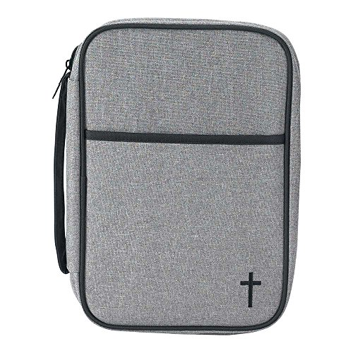 Black and Gray Reinforced Polyester Bible Cover Case with Handle, Thinline