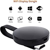 [CE ROSH Certificated] WIFI Display Dongle, ATETION 2018 WiFi Wireless 1080P Mini Display Receiver HDMI TV Miracast DLNA Airplay for IOS/Android/Windows/Mac, Black