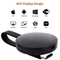 [Certificazione CE ROSH] Dongle Display WIFI, ATETION 2018 WiFi Senza Fili Ricevitore HDMI TV 1080P Mini Display Airplay Miracast DLNA per IOS/Android/Windows/Mac, Nero