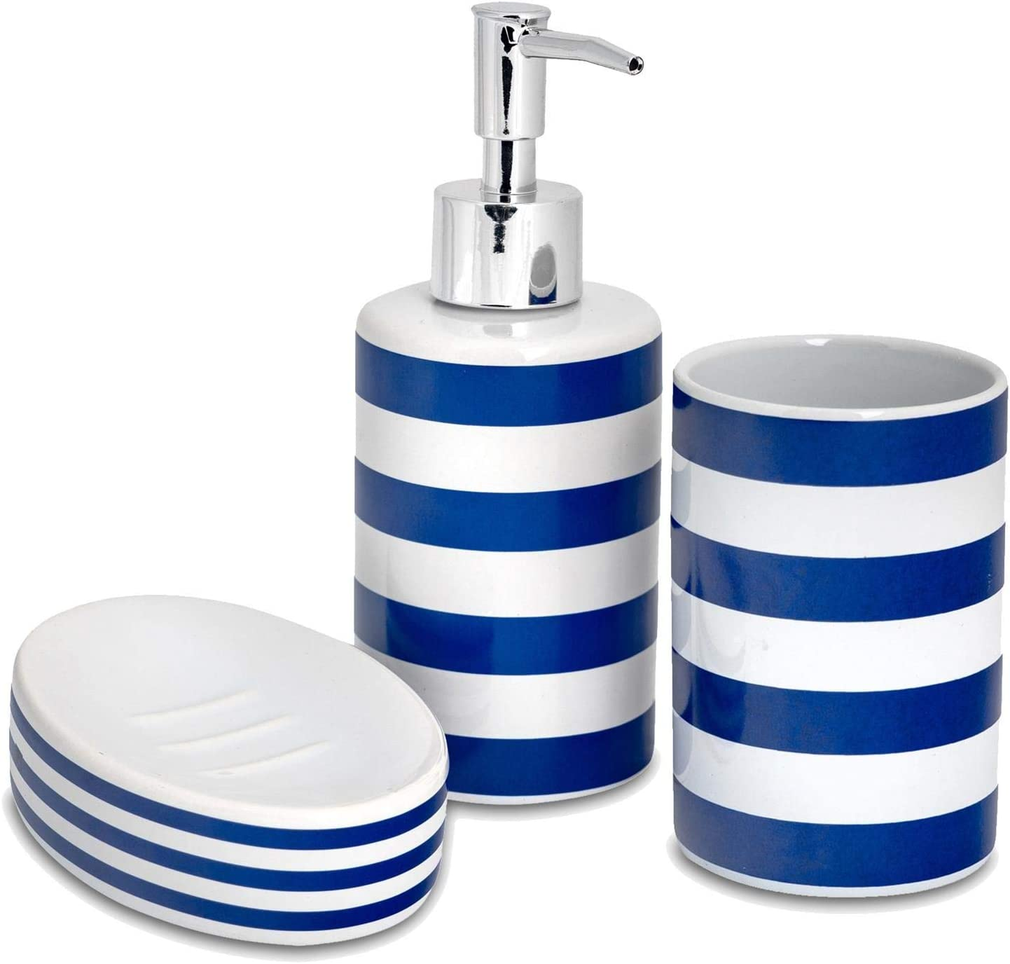 Harbour Housewares 3 Piece Bathroom Accessories Set Soap Dispenser Dish And Toothbrush Holder Navy Stripe Amazon Co Uk Kitchen Home