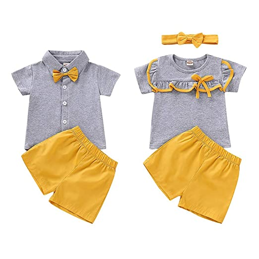 0ddb7013 Amazon.com: Timall Brother and Sister Matching Outfits Set Matching Outfit  Short Sleeve T-Shirt Tops Short Pants Headbands: Clothing