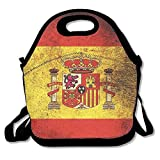 Spain Flag Retro Lunch Box Bags Lunch Tote Lunch Holder With Adjustable Strap For Kids And Adults For School Picnic Office Travel Outdoor School