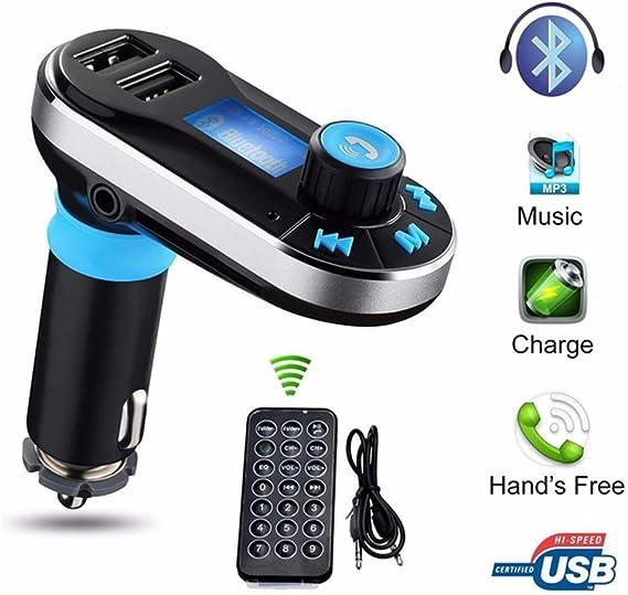 Inalámbrico Bluetooth Manos Libres Transmisor FM reproductor de MP3 Kit de Coche Cargador USB doble