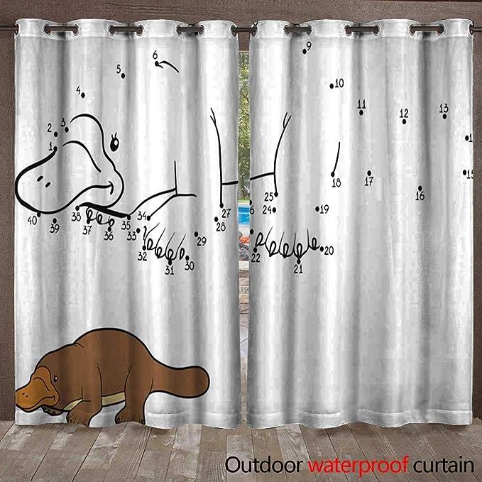 Amazon.com : BlountDecor Outdoor Curtain Numbers Game Little Cute Brown Monkey Waterproof CurtainW108 x L108 : Garden & Outdoor