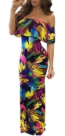 23ff5db003 Blansdi Women Off Shoulder Ruffle Tie Dye Bodycon Clubwear Cocktail ...