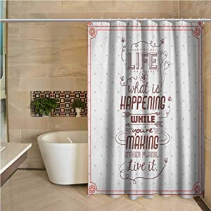 Quotes Shower Curtain Set Home Bathroom Decorations 60x72 inch Life is What is Happening While Youre Making Other Plans. Live it Attitude Art Peach Ruby