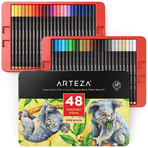 ARTEZA Inkonic Fineliners Fine Point Pens, Set of 48 Fine Tip Markers with Color Numbers, 0.4mm Tips, Ergonomic Barrels, Brilliant Assorted Colors for Coloring, Drawing & Detailing