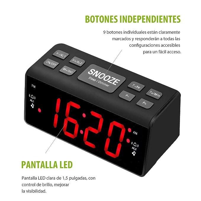 Radio Despertador Digital, Pictek [2018 Nuevo] 3 en 1 Reloj Digital con Radio FM/AM, Función de Doble Alarma con Pantalla LED de 1.5