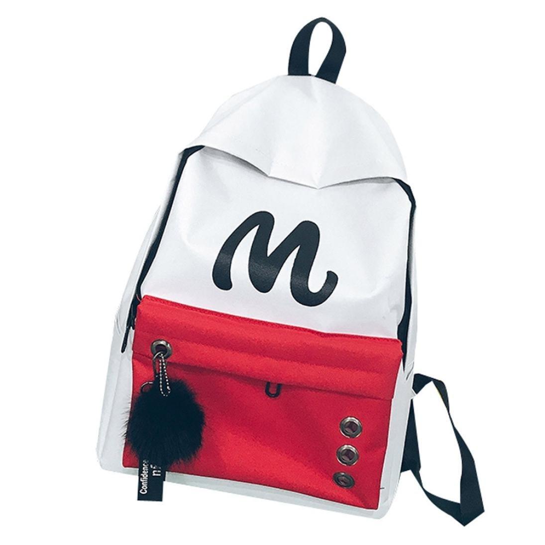 SUKEQ Student Backpack, Unisex Letter Printed Style School Backpack Canvas Bookbag Casual Travel Rucksack Outdoor Travel Daypack (White)