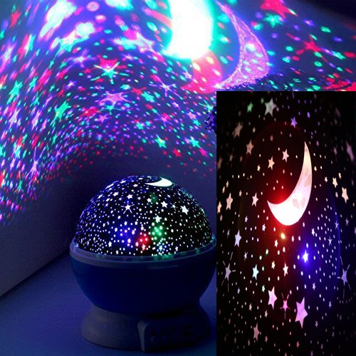 DTS-ES Led Colorful Dream Light, Stars And Moon Projection Effect, Very Quiet On Rotation, USB Power Supply Or Dry Cell, Christmas New Year gift,Used For Bedroom Lighting Or Children Bedroom Adornment