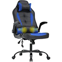 Gaming Chair Office Chair Desk Chair Massage Ergonomic Executive PU Leather Computer Chair with Lumbar Support Headrest Armrest Task Rolling Swivel Racing Chair for Women Adults, Blue