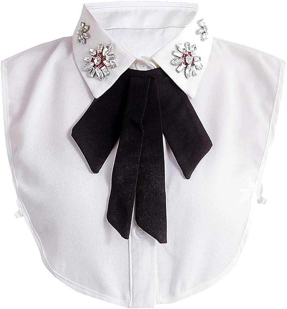 xian Perlas de diamantes de imitación Collar falso de solapa Collar de corbatín negro Botones de gargantilla