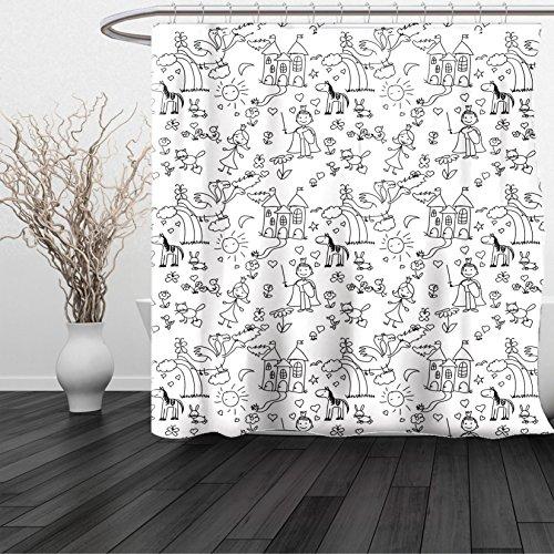 HAIXIA Shower Curtain Kids Hand Drawn Style Childish Doodle Childhood Theme Joyful Fairytale Fantastic Landscape Black White