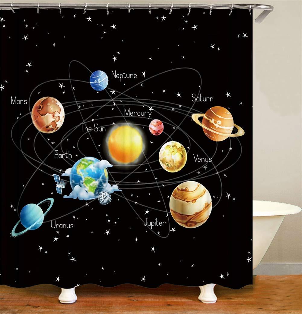 Sistema Solar del Mapa del Planeta Y La Introducci/ón Gancho Libre Tejido Impermeable Cortina De Ducha 180X180Cm Decoraci/ón del Espacio Rico En Patrones Y F/ácil De Limpiar.